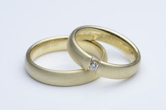 Wedding rings. Male and female wedding ring Stock Photos