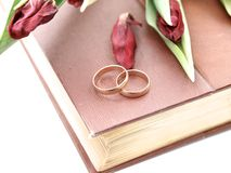 Wedding Rings. On a bible and flowers Royalty Free Stock Images