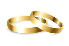Wedding Rings. 2 Gold Wedding Rings, Isolated On White Background, Vector Illustration Stock Image