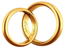Wedding rings. Two golden wedding rings isoleted Stock Photography