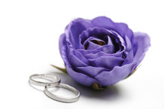 Wedding rings. With violet flower, on white background Stock Photo
