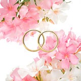 Wedding rings. Rings and flowers in a romantic wedding Royalty Free Stock Images