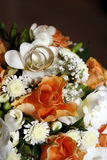 Wedding rings. On a bouquet of the bride Stock Photography
