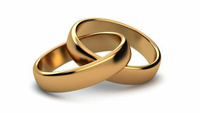 Wedding rings. On white background Stock Photos