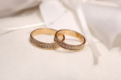 Wedding rings. Honeymoon concept (real shot from a wedding Royalty Free Stock Images