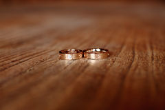 Wedding rings. On the desk Stock Photography