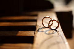 Wedding rings. On the chair Royalty Free Stock Photo