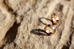 Wedding rings. On the stone Stock Photo