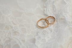Wedding rings. On the white veil Royalty Free Stock Photo