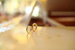 Wedding rings. Isolated on the desk Stock Photo