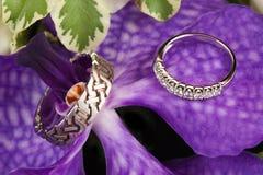 Wedding rings. Closeup of Wedding rings on flowers, horizontal image Stock Image