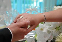 Wedding rings. Pic of bride and groom hands  with ring and bracelet Royalty Free Stock Photo