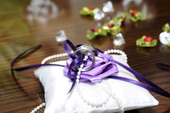 Wedding rings. Wedding bands on a pillow Royalty Free Stock Photography