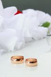 Wedding Rings. On a white background with wedding decorationsding Rings Royalty Free Stock Photography