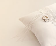 Wedding Rings. On a white pillow Stock Image