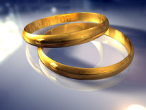 Wedding Rings. In blue Royalty Free Stock Images