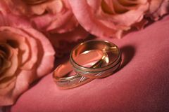 Wedding rings. Close up on pink background stock photos