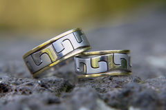 Wedding Rings. Man and woman showing their wedding rings Royalty Free Stock Photo