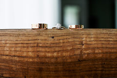 Wedding rings. On the wood Royalty Free Stock Images