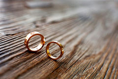 Wedding rings. On the wood Stock Images