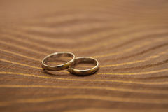 Wedding rings. Close-up of two gold wedding rings royalty free stock image