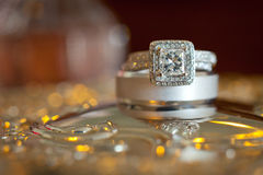 Wedding Rings. Wedding band and engagements rings Stock Images
