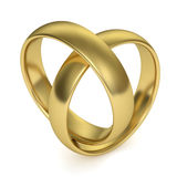 Wedding Rings. Jointed in the shape of a heart,  on white background. Computer generated image with clipping path Royalty Free Stock Images