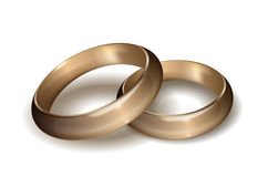 Wedding rings. Gold wedding rings on white background Royalty Free Stock Photography