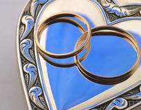 Wedding rings. оn a blue background Stock Image