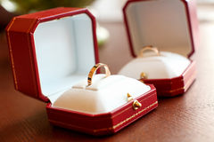 Wedding rings. In the box Stock Photo