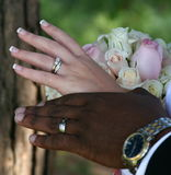 Wedding rings. An inter racial wedding couple with wedding rings Stock Images