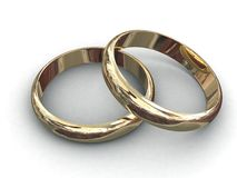 Wedding rings. 3d rendering illustration of two wedding rings. A clipping path is included for easy editing Royalty Free Stock Photography