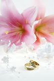 Wedding rings. Beautiful golden wedding rings with flowers Royalty Free Stock Photo