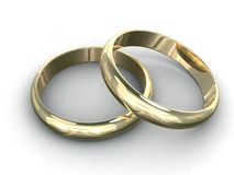 Wedding rings. 3d rendering illustration of two wedding rings. A clipping path is included for easy editing Stock Photo