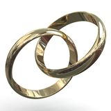Wedding rings. 3d rendering illustration of two wedding rings. A clipping path is included for easy editing Royalty Free Stock Images