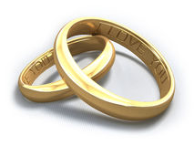 "Wedding Rings. 3D wedding rings. Inside of the rings there is written: ""I Love You Royalty Free Stock Image"