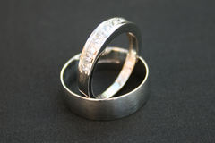 Wedding Rings. Platinum and diamond wedding rings stock photography