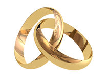 Wedding rings. Two linked wedding rings on a white background royalty free illustration