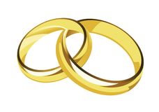 Wedding rings. Female and male gold wedding rings Stock Image