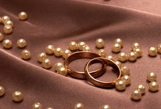 Wedding rings. On a silk Royalty Free Stock Images