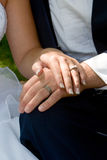 Wedding rings. The couple displays the rings royalty free stock images