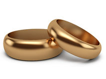 Wedding rings. Gold wedding rings on white background Stock Images