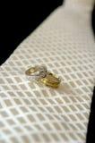 Wedding rings. Close up photo of wedding rings & tie Stock Image