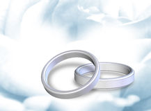 Wedding rings. Golden wedding ring with clipping path on romantic background (out of focus Stock Image