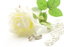 Wedding rings. And white rose. The rings in focus Royalty Free Stock Photos
