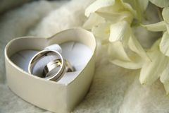 Wedding rings. Picture of a wedding rings in a heart box royalty free stock image