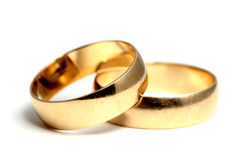 Wedding rings. Used wedding rings posing in a natural manner Stock Photography