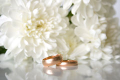 Wedding rings. And white chrysanthemumon on a grey background. Shallow DOF Stock Image