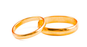 Wedding rings. On a white background Stock Photography