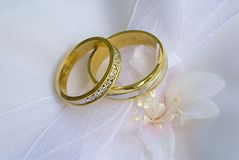 Wedding rings. Two weding rings on satin and white bow royalty free stock photo